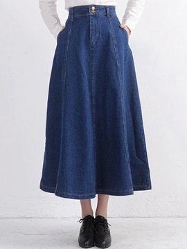 Ericdress Simple Denim Skirt