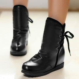 Ericdress Simple PU Lace up Ankle Boots