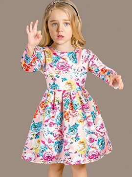 Ericdress Mixed-Print?Floral Pleated Girls Dress