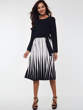 Ericdress Laced-Up Round Neck Strip Patchwork Casual Dress
