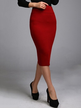 Ericdress Solid Color Bodycon Skirt