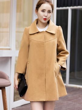 Ericdress Solid Color Turn-Down Loose Coat
