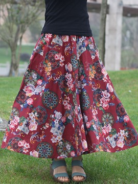 Ericdress Chinese Ethnic Floral Print Skirt