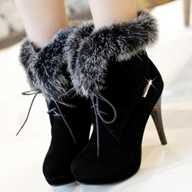 Ericdress Graceful Furry Lace up High Heel Boots