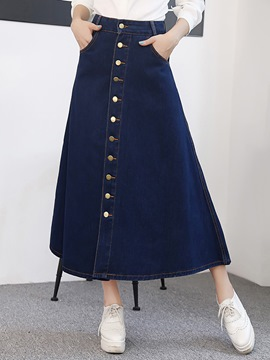 Ericdress Solid Color Single-Breasted Denim Skirt