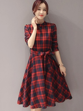 Ericdress Plaid Lace-Up Stand Collar Casual Dress