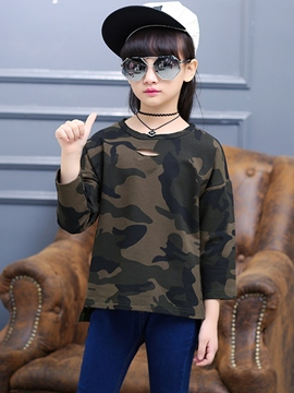 Ericdress Camo Hole Design Left Shoulder Sleeve Girls Top