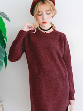 Ericdress Casual Pocket Solid Color Sweater Dress
