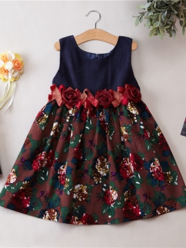 Ericdress Floral Printed Patchwork Girls Dress