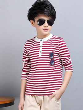 Ericdress Strip Appliques Button Tee Two-Piece Boys Outfit