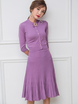 Ericdress Sweet Pleated Knitted Skirt Suit