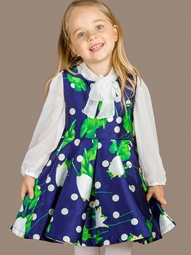 Ericdress Polka Dots Floral Bow-Belt Collar Pleated Girls Dress
