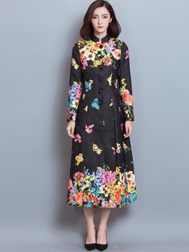 Ericdress Floral Printed Slim Trench Coat