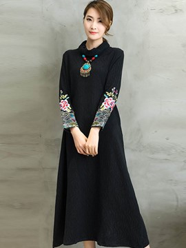 Ericdress Solid Color Embroidery Turtleneck A-Line Maxi Dress