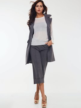 Ericdress Solid Color Sleeveless Trench Coat Two-Piece Suit