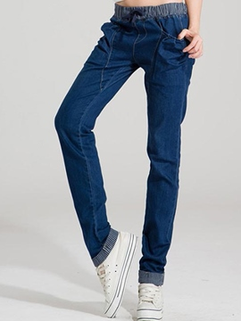 Ericdress Solid Color Casual Jeans