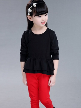 Ericdress Double Falbala Bottom Tee Girls Top