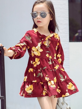 Ericdress Printing Patchwork Pleated Bow Girls Dress