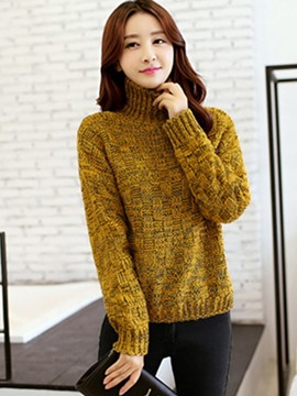 Ericdress Yellow Turtle Neck Knitwear