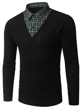 Ericdress Shirt Collar Double-Layer Patchwork Men's Sweater