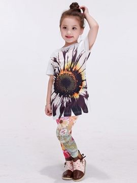 Ericdress Large Sunflower Printing Long Tee Girls Top