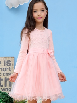 Ericdress Lace Bead Bow Patch Lace-Trim Girls Dress