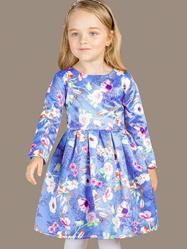 Ericdress Floral Printed Pleated Girls Dress
