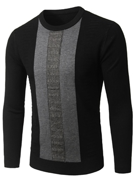 Ericdress Crew Neck Color Block Men's Sweater