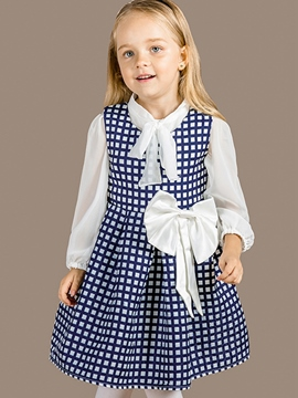 Ericdress Belt Collar Bowknot Patch Lattice Pleated Girls Dress