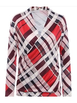 Ericdress Geometric Pattern Wrap Front Blouse