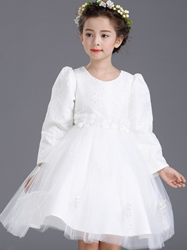 Ericdress Lace Patch Set-in-Sleeve Floral Patch Mesh Girls Dress
