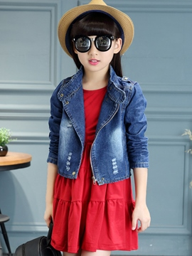Ericdress Patch Pleated Frayed Destroy Denim Two-Piece Girls Outfit