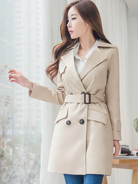 Ericdress Elegant Slim Lace-Up Trench Coat