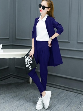 Ericdress Plain Color Wrapped Trench Coat Pants Suit