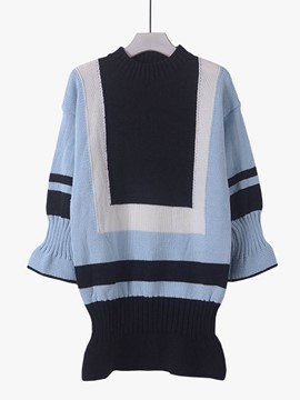 Ericdress Color Block Fish Tail Pullover Knitwear