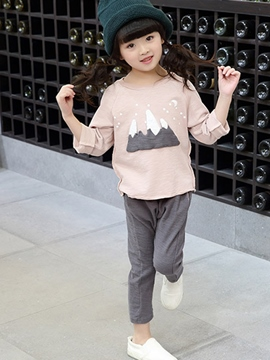 Ericdress Hemming Pure Cartoon Patch Two-Piece Girls Outfit