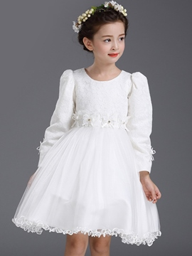 Ericdress Pleated Sleeves Floral Patch Girls Dress