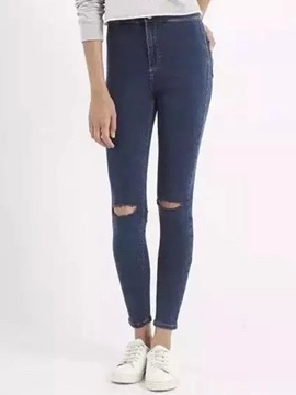 Ericdress Simple Ripped High-Rise Jeans