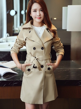 Ericdress Solid Color Double-Breasted Trench Coat