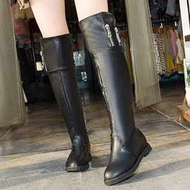 Ericdress Simple Zipper Decoration Knee High Boots