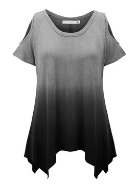 Ericdress Cold Shoulder Color Blck T-Shirt