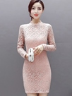Ericdress Solid Color Stand Collar Lace Dress