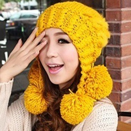 Ericdress Pompon Decorated Protective Ear Knitted Hat