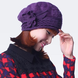Ericdress Lovely Flower Decorated Fur Beret Hat