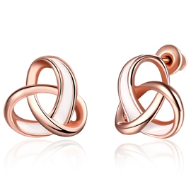Ericdress Rose Gold Cross Knot Stud Earrings