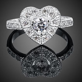 Ericdress Heart-Shaped Diamante Ring