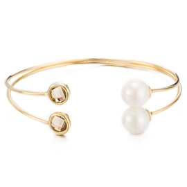 Ericdress Pearl Inlaid Gold Opening Bracelet