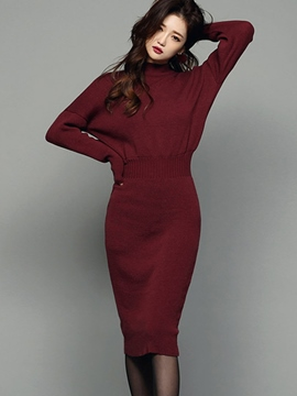 Ericdress Solid Color Stand Collar Sweater Dress