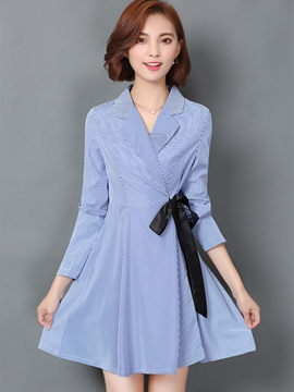 Ericdress Notched Lapel Lace-Up Casual Dress