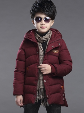 Ericdress Plain Hooded Boys Coat